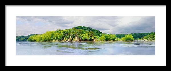 Cliffs; Crag; Deep; Landscape; Hills; Nature; Outdoors; Park; River; Rock; Scenic; Strength; Terrain; Travel; Forest; Vacations; Water; Wild; Palisaides; Storm; Panorama Framed Print featuring the photograph Potomac Palisaides by Francesa Miller