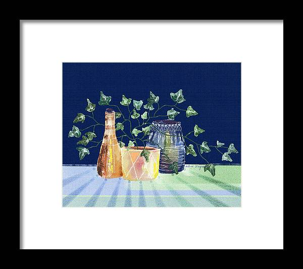 Ivy Framed Print featuring the digital art Pots And Ivy On Plaid by Arline Wagner