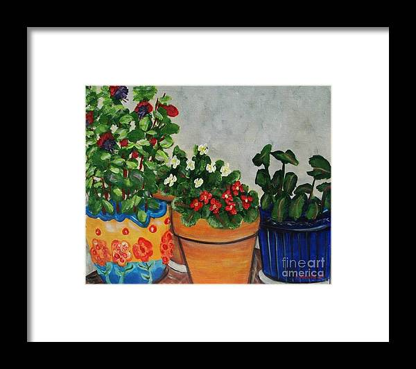 Ceramic Pots Framed Print featuring the painting Pots Showing Off by Laurie Morgan