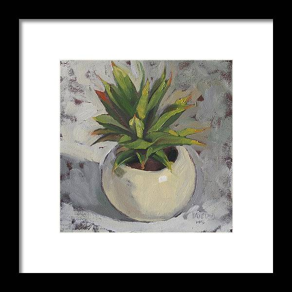 Succulent Framed Print featuring the painting Potted Succulent I by Haze Long