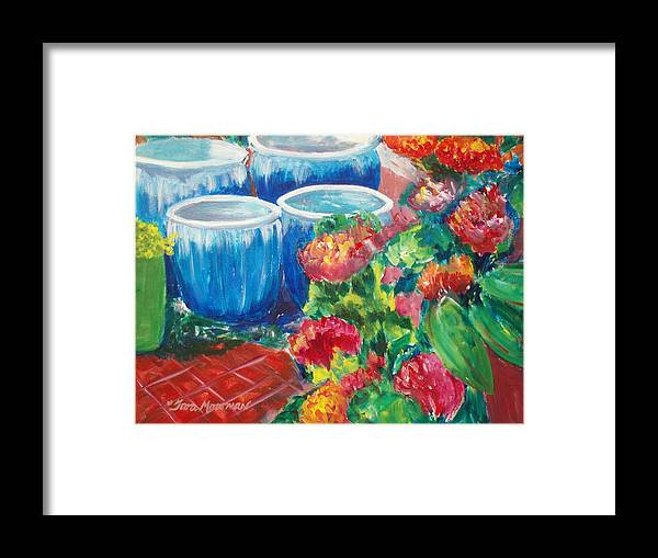 Red Flowers Framed Print featuring the painting Potted by Tara Moorman