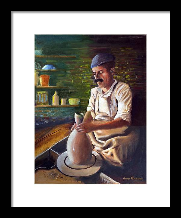 Potter At Work Framed Print featuring the print Potter At Work by George Markiewicz