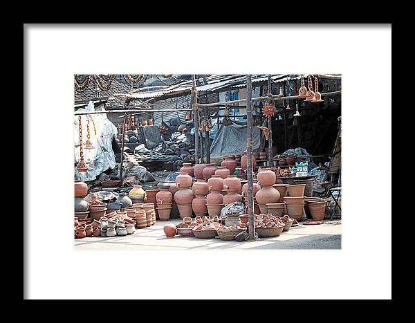 Indai Framed Print featuring the photograph Pottery Shop In India by Diana Davenport