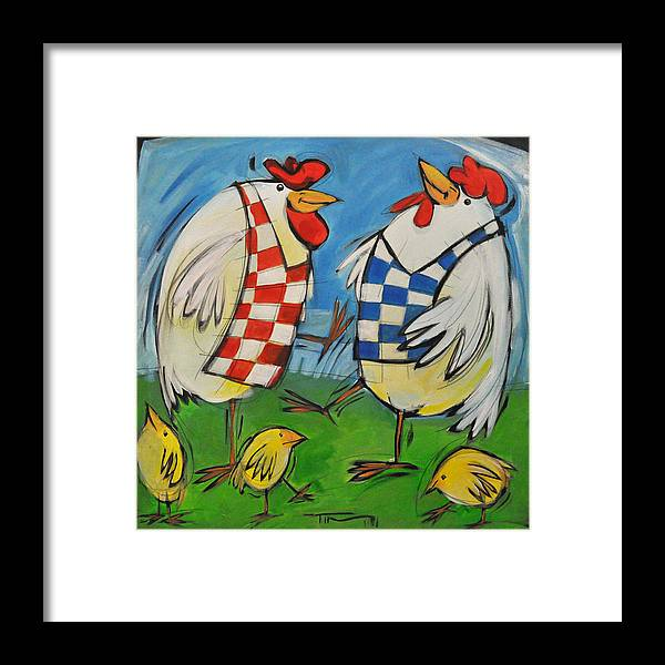 Hens Framed Print featuring the painting Poultry In Motion by Tim Nyberg