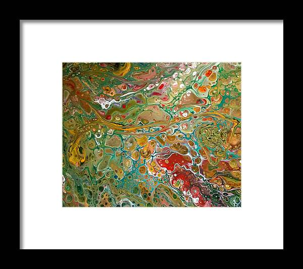 Pour Framed Print featuring the painting Pour10 by Valerie Josi