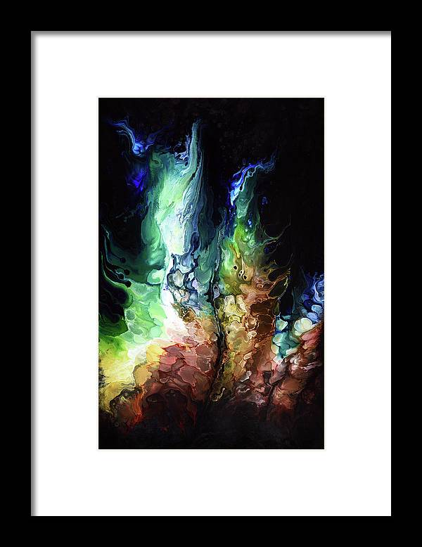 Abstract Framed Print featuring the painting Pourgasm by Dion Kurczek