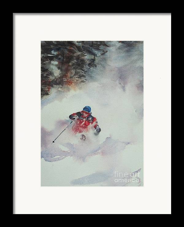 Skiing Framed Print featuring the painting Powder by Elizabeth Carr