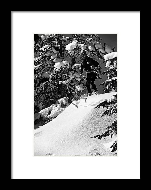 Smuggler's Notch Framed Print featuring the photograph Powder Hound Bw Version by Steve Harrington