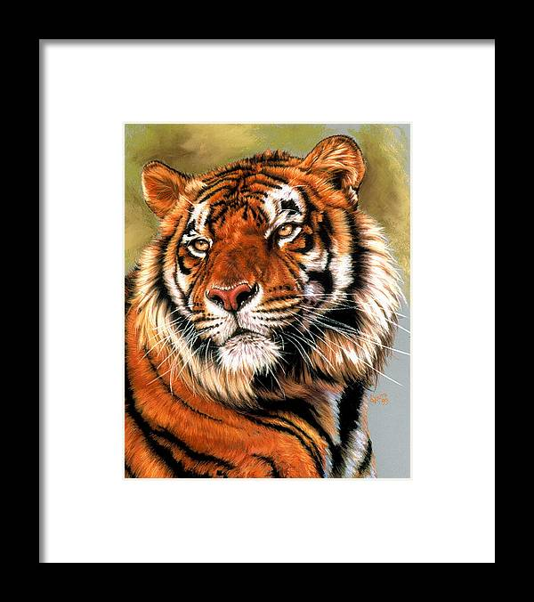 Tiger Framed Print featuring the pastel Power And Grace by Barbara Keith