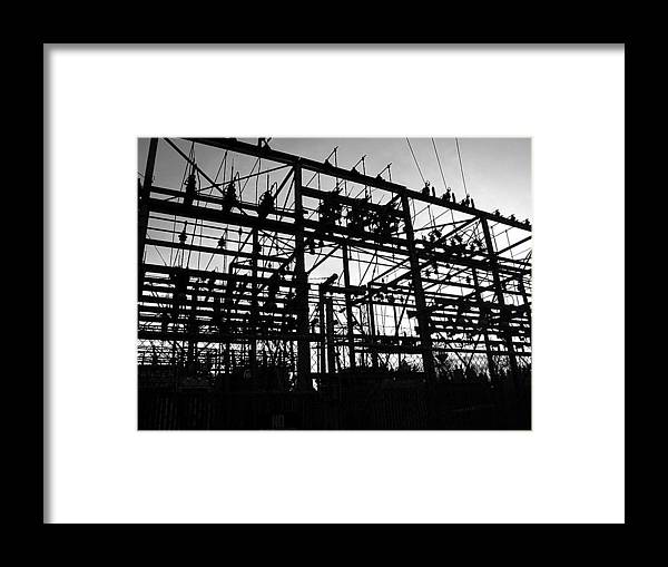Photograph In Oregon Of A Power Station / Grid Framed Print featuring the photograph Power Grid In Oregon by Christopher Allison