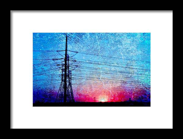 Landscape; Power Lines; Sunrise; Texture; Blue; Red; Swartland; South Africa; Morning Light; Nature; Technic; Wire; Sky; Framed Print featuring the photograph Power In Blue by Werner Lehmann