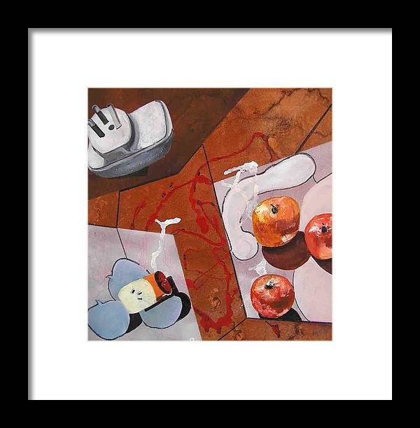 Framed Print featuring the painting Power Of Electricity by Evguenia Men