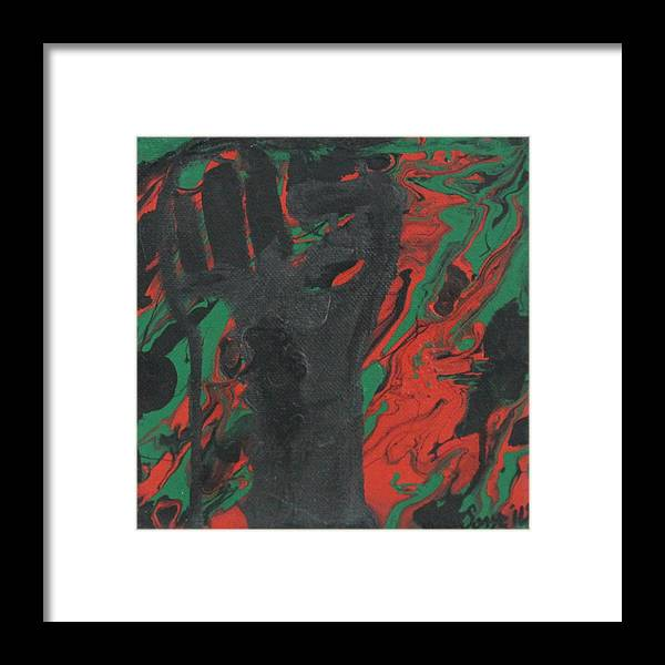 Black Framed Print featuring the painting Power to the People by Sonye Locksmith