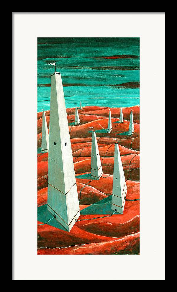 Landscape Framed Print featuring the painting Power Tower by Rollin Kocsis