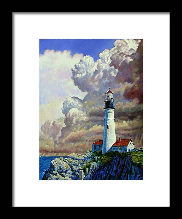 Lighthouse Framed Print featuring the painting Powering Up by John Lautermilch