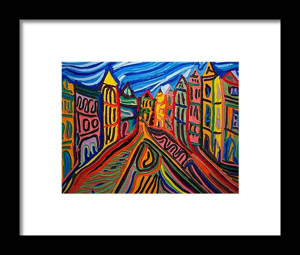 Framed Print featuring the painting Prague At Noon by Ira Stark