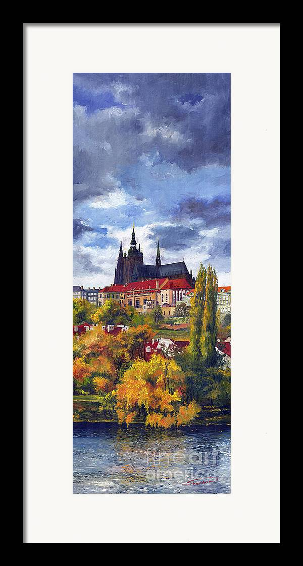 Prague Framed Print featuring the painting Prague Castle With The Vltava River by Yuriy Shevchuk