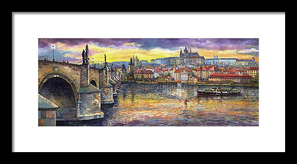 Oil On Canvas Framed Print featuring the painting Prague Charles Bridge and Prague Castle with the Vltava River 1 by Yuriy Shevchuk
