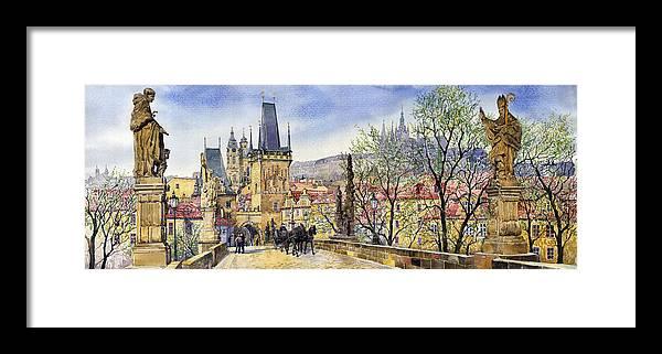 Watercolour Framed Print featuring the painting Prague Charles Bridge Spring by Yuriy Shevchuk