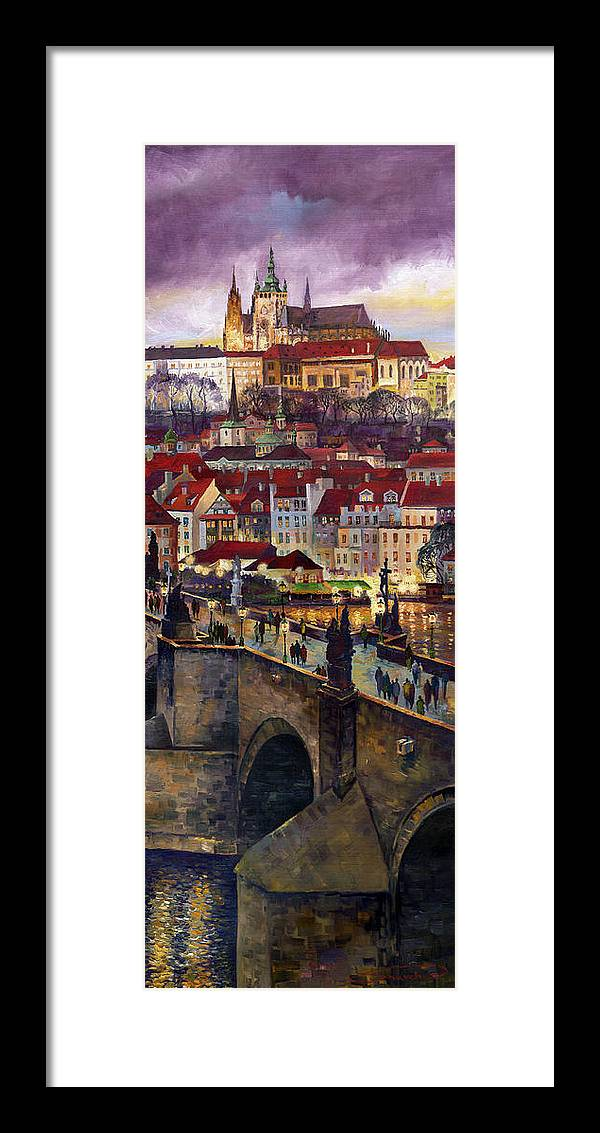Prague Framed Print featuring the painting Prague Charles Bridge With The Prague Castle by Yuriy Shevchuk