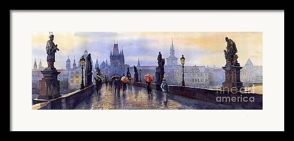 Cityscape Framed Print featuring the painting Prague Charles Bridge by Yuriy Shevchuk