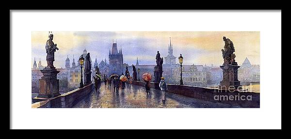 Cityscape Framed Print featuring the painting Prague Charles Bridge by Yuriy Shevchuk