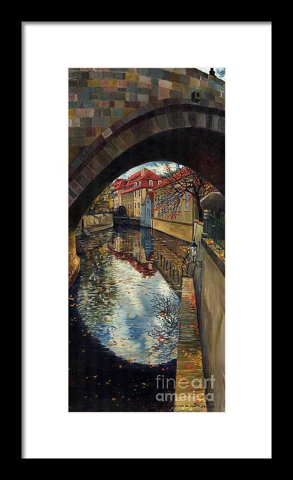 Oil Framed Print featuring the painting Prague Chertovka 3 by Yuriy Shevchuk