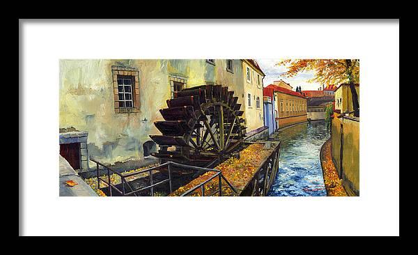 Prague Framed Print featuring the painting Prague Chertovka by Yuriy Shevchuk