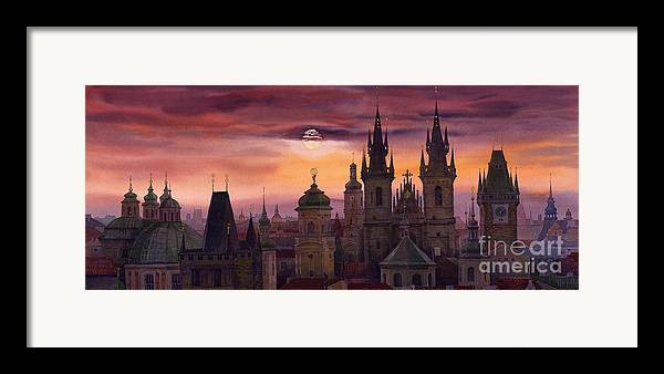 Cityscape Framed Print featuring the painting Prague City Of Hundres Spiers by Yuriy Shevchuk
