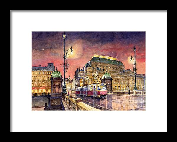 Bridge Framed Print featuring the painting Prague Night Tram National Theatre by Yuriy Shevchuk