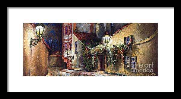 Prague Framed Print featuring the painting Prague Novy Svet Kapucinska str by Yuriy Shevchuk