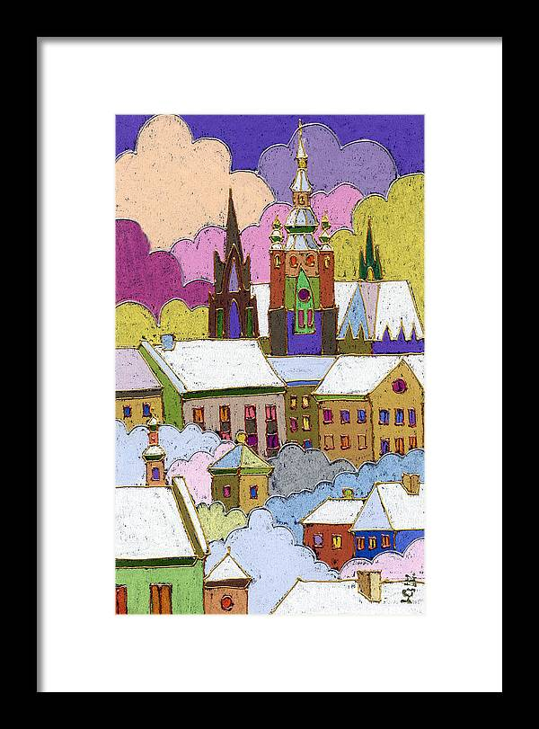 Pastel Framed Print featuring the painting Prague Old Roofs Prague Castle Winter by Yuriy Shevchuk