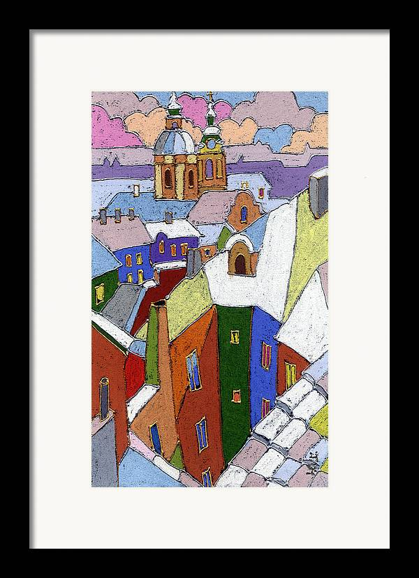 Pastel Framed Print featuring the painting Prague Old Roofs Winter by Yuriy Shevchuk