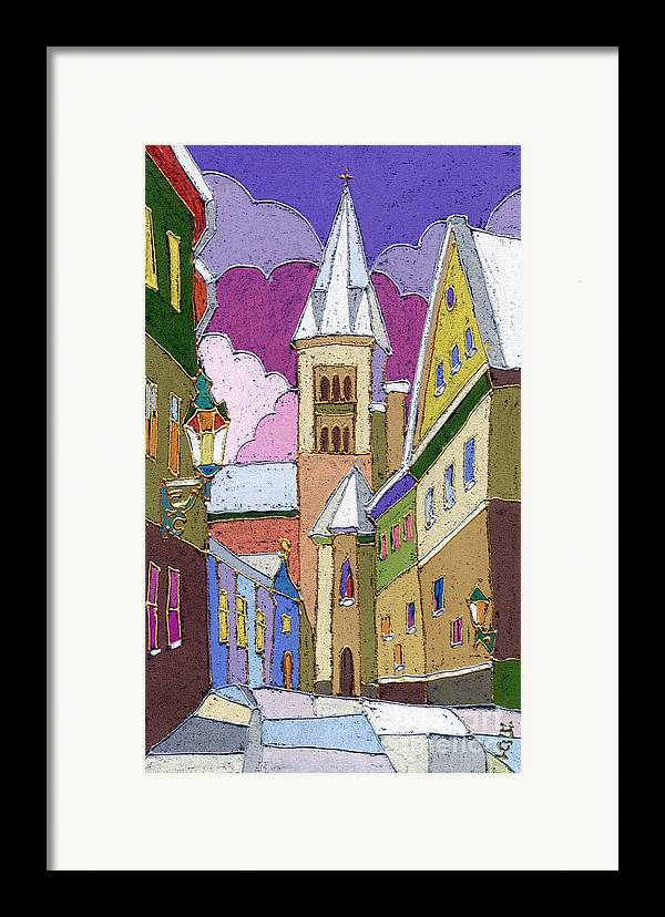 Pastel Framed Print featuring the painting Prague Old Street Jilska Winter by Yuriy Shevchuk