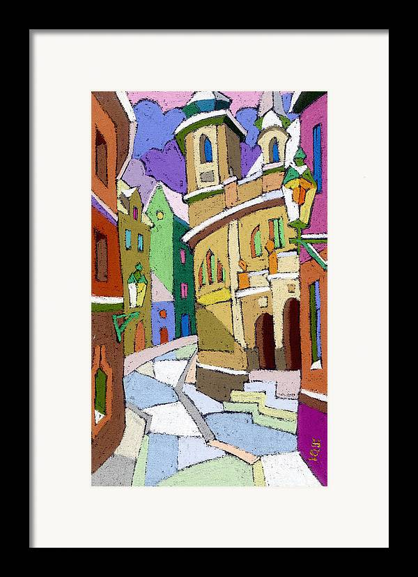 Pastel Framed Print featuring the painting Prague Old Street Karlova Winter by Yuriy Shevchuk