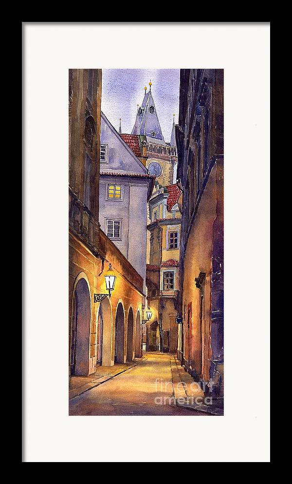 Cityscape Framed Print featuring the painting Prague Old Street by Yuriy Shevchuk