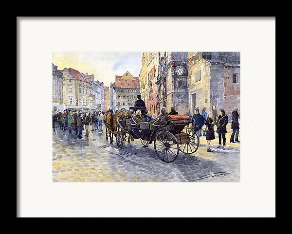 Watercolour Framed Print featuring the painting Prague Old Town Hall And Astronomical Clock by Yuriy Shevchuk