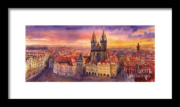 Watercolour Framed Print featuring the painting Prague Old Town Square 02 by Yuriy Shevchuk
