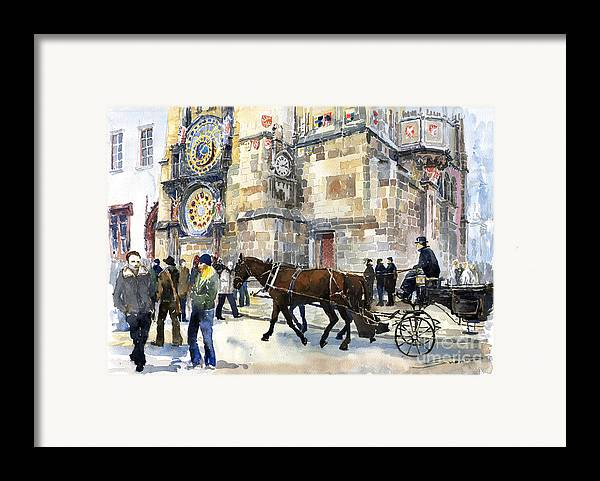 Watercolour Framed Print featuring the painting Prague Old Town Square Astronomical Clock Or Prague Orloj by Yuriy Shevchuk
