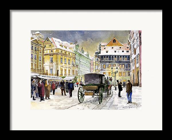 Watercolour Framed Print featuring the painting Prague Old Town Square Winter by Yuriy Shevchuk