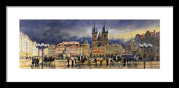Watercolor Framed Print featuring the painting Prague Old Town Squere After Rain by Yuriy Shevchuk
