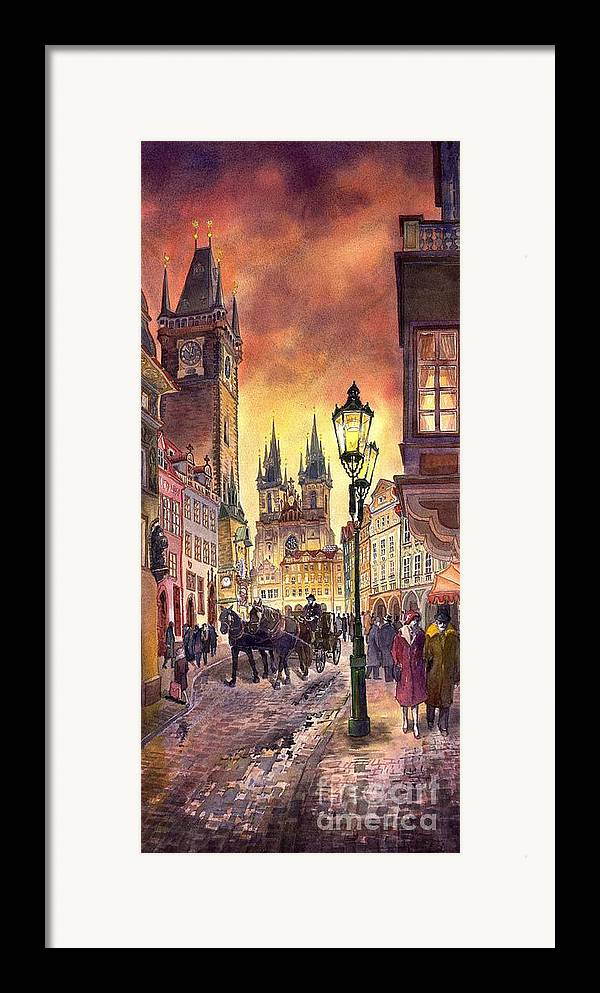 Cityscape Framed Print featuring the painting Prague Old Town Squere by Yuriy Shevchuk