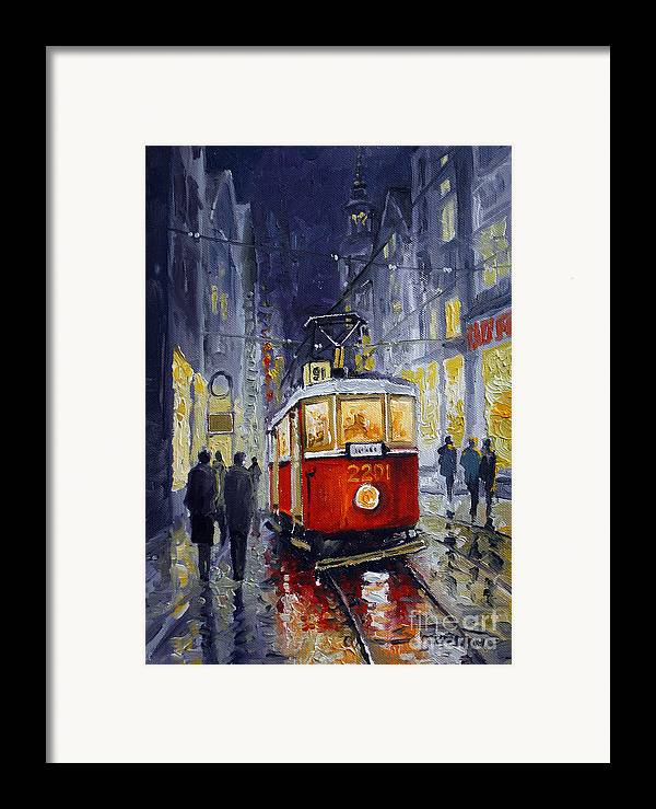Oil Framed Print featuring the painting Prague Old Tram 06 by Yuriy Shevchuk