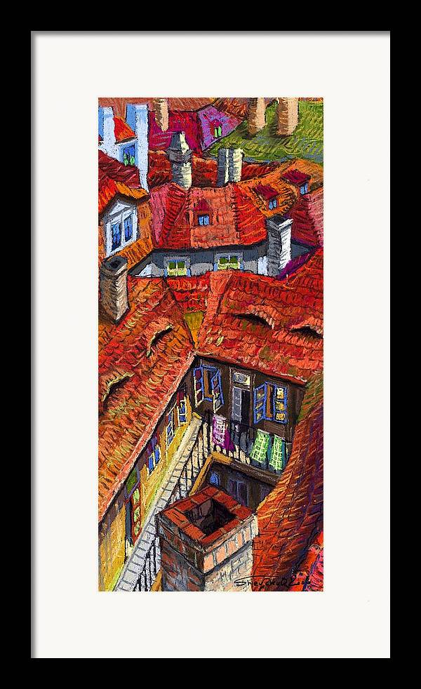Pastel Framed Print featuring the painting Prague Roofs 01 by Yuriy Shevchuk