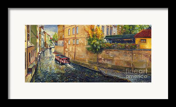 Oil.prague Framed Print featuring the painting Prague Venice Chertovka 2 by Yuriy Shevchuk