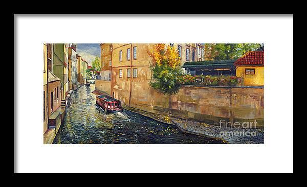 Oil.prague Framed Print featuring the painting Prague Venice Chertovka 2 by Yuriy Shevchuk