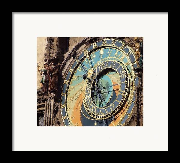 Prague Framed Print featuring the painting Praha Orloj by Shawn Wallwork
