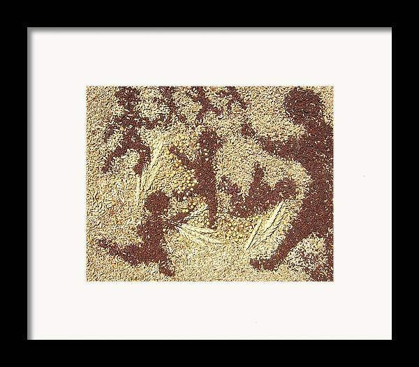 Children Playing Scene Created With Grains Grown In The Prairies Collaged On Canvas Framed Print featuring the mixed media Prairie Grain Dance by Naomi Gerrard