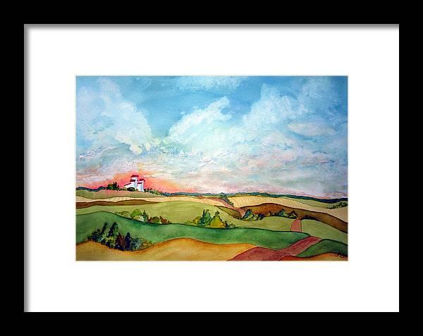 Prairie Grain Elevators Framed Print featuring the painting Prairie Grain Elevators by Joanne Smoley