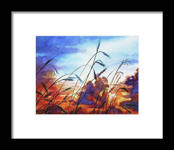 Prairie Sky Painting Framed Print featuring the painting Prairie Sky by Hanne Lore Koehler